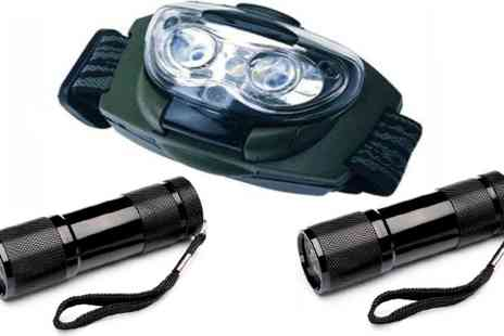 Stock Nation Camping - Headlamp plus 2 Torch  - Save 73%