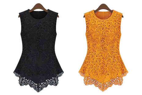D Fashion - Sleeveless Lace Flared Crochet Top - Save 66%
