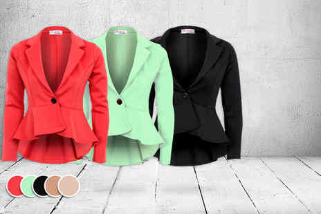 Fantasia Boutique - Fitted peplum blazer in a choice of 5 colours - Save 52%