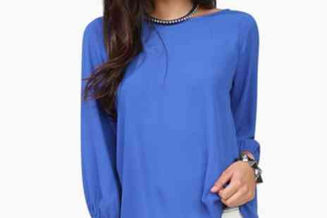 Londeal UK - Eight Blue Sexy Backless Bow Chiffon Blouse - Save 60%