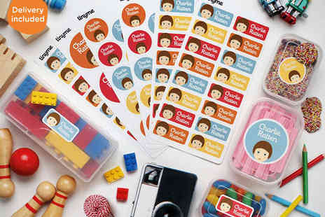 Tinyme - Pack of Vinyl Personalised Kids Name Labels Including 48 Standard Labels, 28 Round Labels  - Save 69%