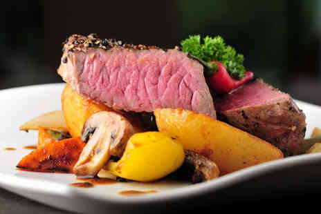 Signature Steakhouse - Steak meal for 2 including a main course, side and a glass of wine each - Save 65%