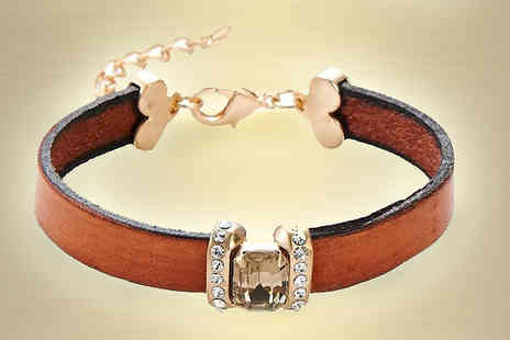 Crystal Crush - Brown Leather Stone Bracelet - Save 67%
