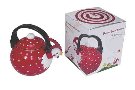 Pick it and Pack it - Porcelain Enamel Kettle in Choice of Three Animal Designs - Save 66%