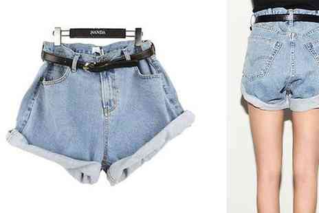 D Fashion - High Waisted Boyfriend Style Denim Shorts - Save 66%