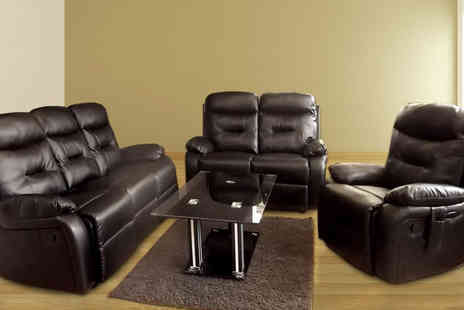 D furniture store - Bonded Leather Recliner Sofa and Armchair Suite - Save 27%