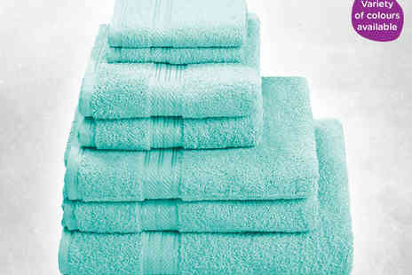 Luxurious Egyptian Cotton Towels - Seven Piece Egyptian Cotton Towel Set in Choice of Eight Colours - Save 62%