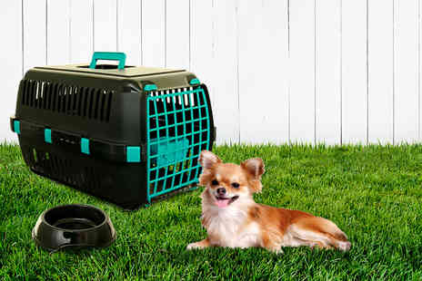 Whitefurze - Pet travel carrier and food bowl - Save 46%