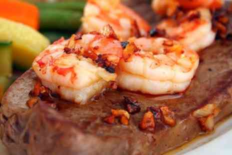 Steps Steak House - Surf n Turf Meal With Wine For Two - Save 45%