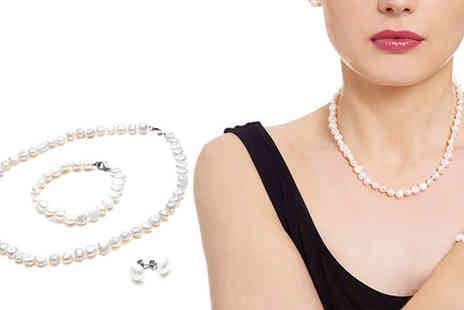YOLO Ventures - Pearl Necklace Bracelet And Earrings Set - Save 46%