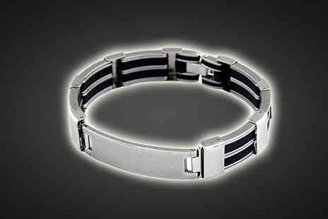 Essential Silver - Mens Infinity Stainless Steel Bracelet - Save 89%