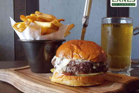 Lanes of London - Wagyu Beefburger with Chips and a Bottle of Beer for Two - Save 42%