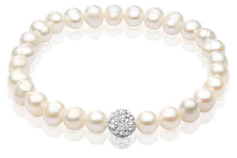 YOLO Ventures - Freshwater Pearl And Crystal Bracelet - Save 50%