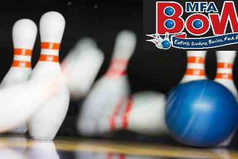 MFA Bowling - Two games plus a hot dog or burger  - Save 63%