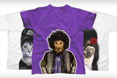 Printed Wardrobe - Pets Rock Character T Shirt in Choice of Design - Save 50%