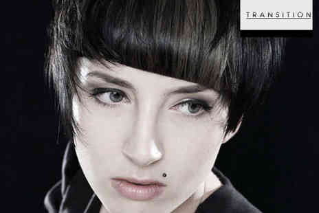 Transition Salon - Haircut with Highlights or Tint, Head Massage, Conditioning Treatment, and Blow Dry - Save 64%