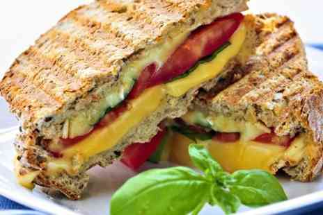 The Atrium Cafe - Panini Sandwich or Salad Plus Drink For Two - Save 50%