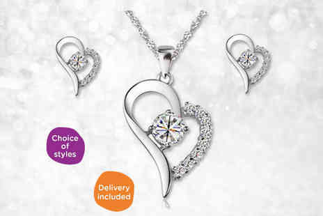 Jewellery Set with Crystals or Pearls - Choice of Jewellery Set - Save 86%