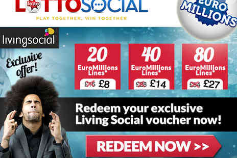 Lotto Social EuroMillions Syndicate - 20 EuroMillions Syndicated Lines - Save 47%