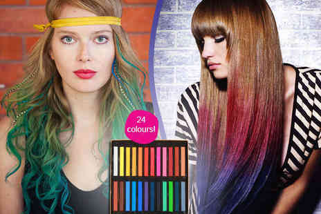 Colourful Hair Chalks - Set of 24 Coloured Hair Chalks - Save 59%