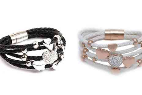 Online Gifts - Rose Heart Leather Style Bracelet - Save 50%