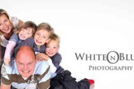 White On Blue Photography - Home or Location Family Photo Shoot With Print and CD of Images - Save 86%