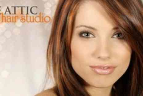 The Attic Hair Design - Cut, Blow Dry, and Conditioning Treatment With Half Head Highlights - Save 64%