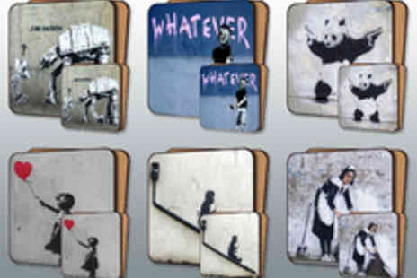 Canvas Town - Banksy Street Art Placemat and Coaster Set - Save 58%