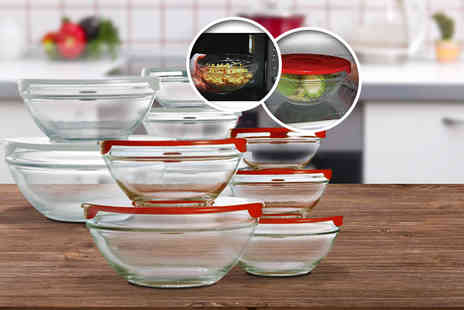 Cost Mad - 10 stackable glass storage bowls with lids - Save 63%