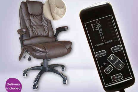 Turborevs - Massage Office Chair in White or Brown  - Save 27%