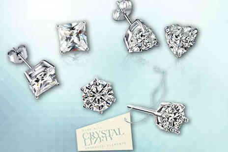 NiftySpot - One Pairs of Diamante Earrings Made with Swarovski Crystals - Save 83%