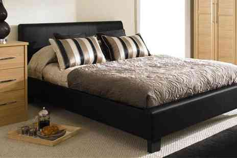 Time Living - Roma Faux Leather Bed Frame and Ortho Foam Mattress - Save 60%