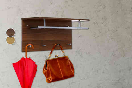 Mhstar - Wall mounted clothes rail featuring a shelf and four hooks - Save 49%