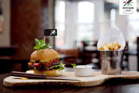 South Bank Grill - Burger with Homemade Fries and a Glass of Wine or Beer Each for Two - Save 48%