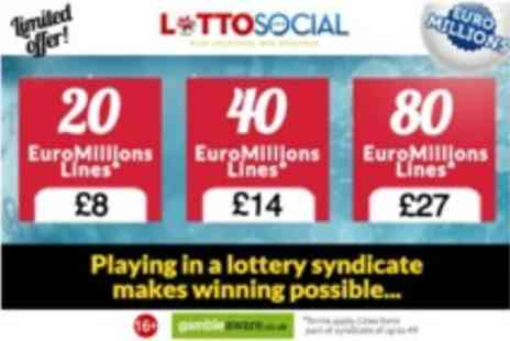 Lotto Social - 20 EuroMillions syndicated lines and 20 Millionaire Raffle entries - Save 47%
