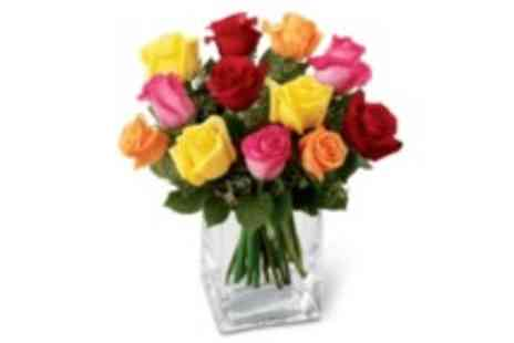 Flowersdelivery4u - Colourful mix of 12 roses, including delivery - Save 30%