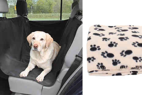 Internetshop - Two Pet Blankets & Protective Rear Car Seat Pet Cover - Save 58%