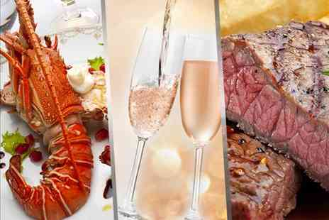The Horseshoe Bar and Restaurant - Steak and lobster meal for Two including a glass of Prosecco - Save 52%