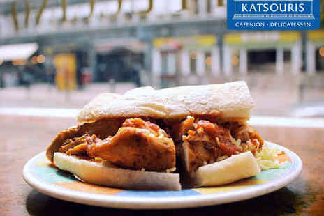 Katsouris Deli & Cafe - Hot Carvery Sandwich, Cake, and Hot Drink - Save 50%