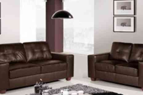 Premium Sofas - Three Seater Madeira Leather Sofa in Black or Brown - Save 66%