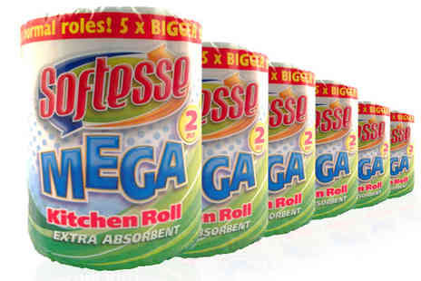 Plaspac UK - 6 or 12 Pack of Softesse Mega Kitchen Rolls - Save 39%