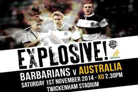 Barbarians V Australia - Child ticket or an adult ticket to see the Barbarians v Australia rugby game - Save 50%
