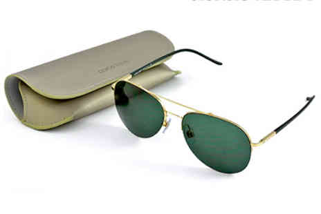 King of Shades - Giorgio Armani Mens Gold Aviator Sunglasses - Save 30%