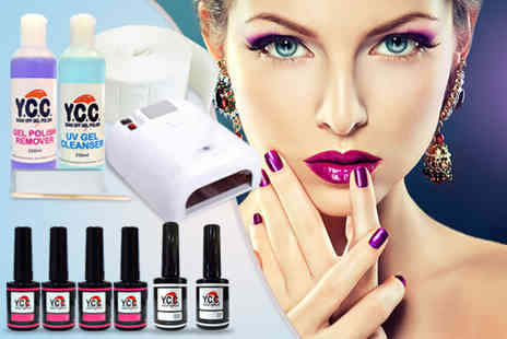 Millennium Nails - 12 piece hybrid gel polish kit including 4 polishes, a UV lamp and more - Save 72%
