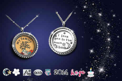 Cartres - Floating pendant necklace with a choice of personalised quote and 2 charms - Save 64%