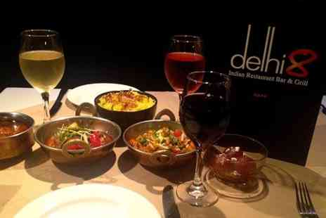 Delhi 8 - Indian Meal With Wine For Two - Save 50%