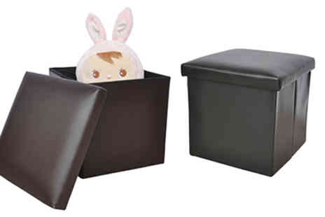 P & N Homewares - Faux Leather Ottoman Storage Cube - Save 54%