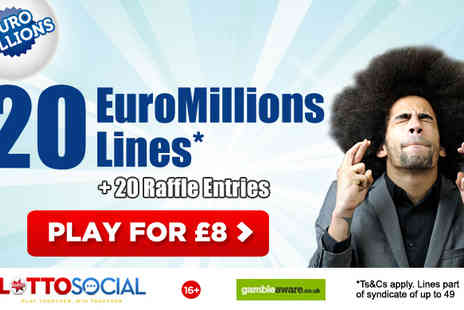 Lotto Social - 20, 40 or 80 EuroMillions Tickets - Save 47%