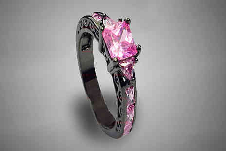 bag a bargain -  10k Black Gold Filled Pink Sapphire Ring - Save 84%