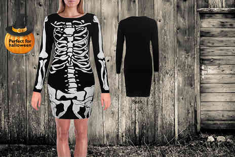 Something About Fashion -  Black skeleton costume choose a leotard or dress - Save 65%